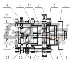 传动机构同步带动多向冲压机