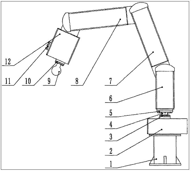 图1为五轴推拿机械臂总体结构示意图.