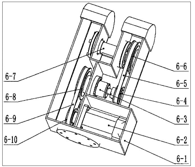 3.根据权利要求书(1)所述的一种五轴推拿机械臂,其特征在于,所述第二关节臂包括:第二外壳(6-1),第二电机(6-2),第二同步带轴(6-3),第三小同步带轮(6-4),第三同步带(6-5),第三大同步带轮(6-6),第一转轴(6-7)第二大同步带轮(6-8),第二同步带(6-9),第二小同步带轮(6-10);所述第二小同步带轮(6-10)与第二电机(6-2)输出轴刚性连接,所述第二大同步带轮(6-8)与第二同步带轴(6-3)一端刚性连接,所述第二小同步带轮(6-10),第二大同步带轮(6-8)通过第二